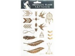 Metalické Tetování Pírka Indiánské