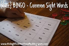 free common sight words bingo