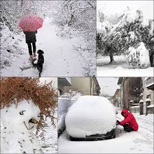 Winter Snow Scenes Collage Snowchains Snowman Walking And Trees
