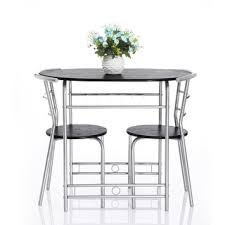 black kitchen dining sets:  vecelo  piece kitchen dining table set for  with stack chairswood top metal finishblack silver