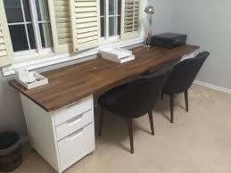 double desk 98 inch oak ikea numerar butcher block with walnut stain finish