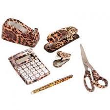 office leopard print. 6 Set Wild Safari Animal Print Office Desk Supply Kit: Stapler Leopard O