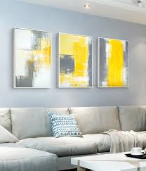 fresh idea grey and yellow wall art interior designing muya 3 piece canvas painting abstract oil