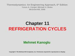 Chapter 11 REFRIGERATION CYCLES Mehmet Kanoglu Copyright © The ...