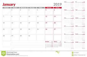 Calendar Planner Template 2019 Week Start From Monday Set Of 12