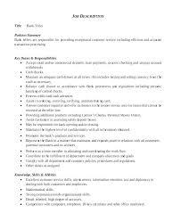 Bank Teller Position Resume Job Description For Sample Of Stunning
