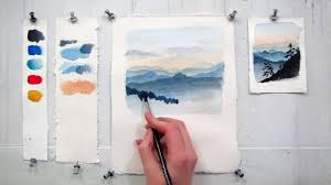 easy step by step watercolor tutorial painting the blue ridge mountains you