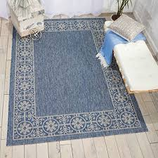 details about nourison garden party grd03 denim indoor outdoor area rug 5 feet 3 inches by 7 3