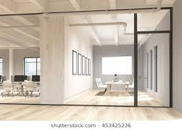 office glass door design. Side View Of Office And Conference Room Interior With Blank Whiteboard Behind Glass Doors. Mock Door Design