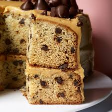 banana chocolate chip cake with peanut er frosting recipe epicurious