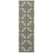 monclay beige teal 2 ft x 8 ft runner rug