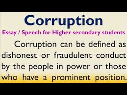 essay or sch on corruption in