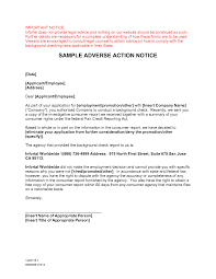 adverse action letter sample