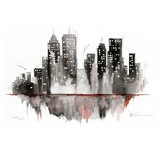 watercolor painting original new york cityscape