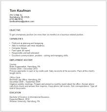 temp work on resume