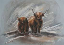 Highland Cow Art limited edition prints by Hilary Barker at Mid Torrie Farm  Callander in Scotland. - Highland Cow Art in 2020 | Schilderen ideeën,  Schilder