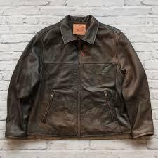 details about levis leather jacket size l brown car coat