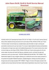 john deere stx30 stx38 stx46 service manual d by genia guziak issuu john deere stx30 stx38 stx46 service manual