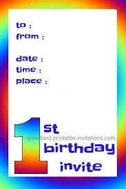 First Birthday Invitations Free Printable Printable 1st Birthday Party Invitations