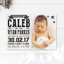 Baby Announcement Cards Pack Mono Baby Announcement Card
