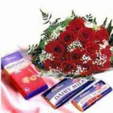 12 red roses bunch with 10 orted chocolates