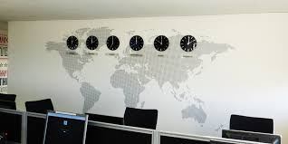 office clocks. World Map Office Wall Mural Installed With Clocks And Acrylic Plaques Showing Time Zones Around The