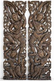 pair of wooden wall art panel