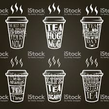 Vector Tea Quotes And Sayings Typography Set Stock Illustration
