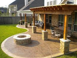 Stamped concrete patio with fire pit cost Beach Style Stamped Stained Concrete Patio Cost Beautiful Patio Cover And Cedar Pergola With Stamped Concrete And Fire Pit Wooden Pool Plunge Pool Stained Concrete Patio Cost Beautiful Patio Cover And Cedar Pergola