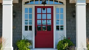 red door grey house. Exterior Door Paint With Vintage Swim Suit Red Grey House