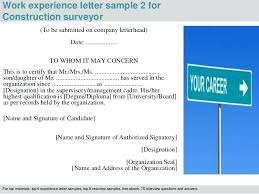 Experience Letter Format For Quantity Surveyor New Experience
