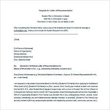 Letter of Re mendation Template Word