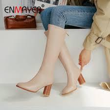 <b>ENMAYER</b> 2019 Thigh High Boots <b>Basic PU</b> Round Toe Knee High ...