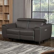 a warren 2 seater dark grey leather