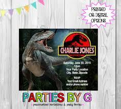 Jurassic Park Invitations Jurassic Park Dinosaur Birthday Party Invitations Personalized Custom