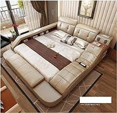 all in one storage. Simple One All In One Leather Double Bed Frame With Speakers Storage Safe Perfect  Relaxation Color White 180x200cm With In E