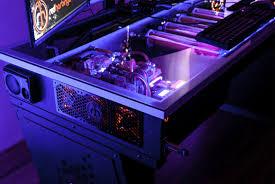Computer pc desk mod modification setup gaming computer rig inside a desk  cross desk red harbinger | Gaming | Pinterest | Gaming, PC and Pc setup