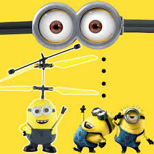 helicopter flying induction deable me minion quadcopter drone small yellow people light aircraft kids toy incoins
