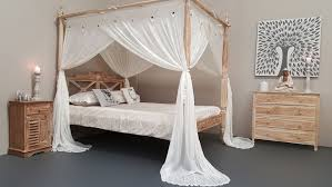 King Size Canopy Bed with Curtains Natural Mosquito Net Four Poster ...