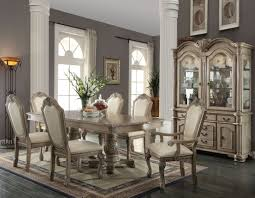 pedestal dining room table. Chateau De Ville Antique White Extendable Double Pedestal Dining Room Set Table