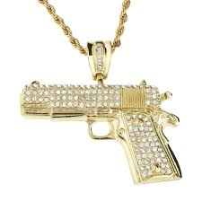 iced out bling hip hop chain pistol gold