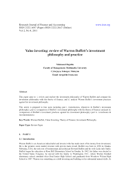 value investing review of warren buffett s investment philosophy  value investing review of warren buffett s investment philosophy and practice pdf available