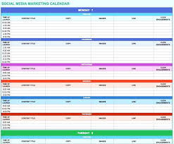 Template Spreadsheet Calendar Template Social Media Marketing