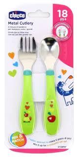 Купить <b>Набор для кормления Chicco</b> Metal Cutlery зеленый с ...