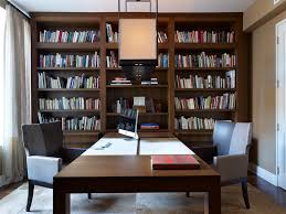 double sided desk home office contemporary with area rug baseboards bookcase black shag rug home office