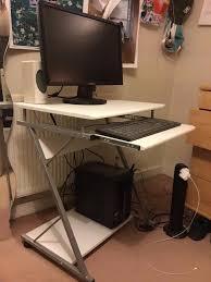 home office computer desk z shaped sliding keyboard 4 wheels pc table trolley workstation