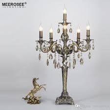 vintage crystal table light fixture desk lamp for reading room candle lamp res de cristal lighting home decoration vintage chandelier rectangular