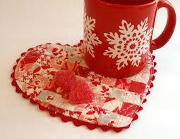 featuring this heart shaped mug rug