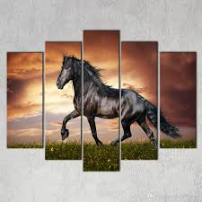 whole large hd black horse onthe grass canvas print painting for living room modern decoration wall art picture gift whole by utocommerce under