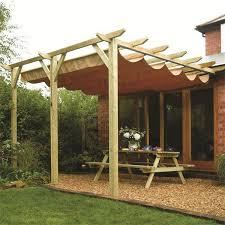 sienna wooden patio pergola garden sun canopy
